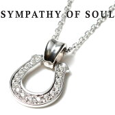 SYMPATHY OF SOUL シンパシーオブソウル Horseshoe Large Pendant Silver w/Clear CZ × Silver Square Cable Chain 1.6mm Hook ホースシュー ラージ シルバー ジルコニア チェーンセット ネックレス 【正規商品 公式通販】