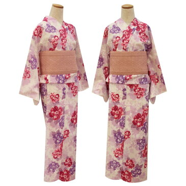 【NICE CLAUP/ナイスクラップ】浴衣 芍薬 白×紫×赤紫 レディース フリーサイズ 10P03Dec16