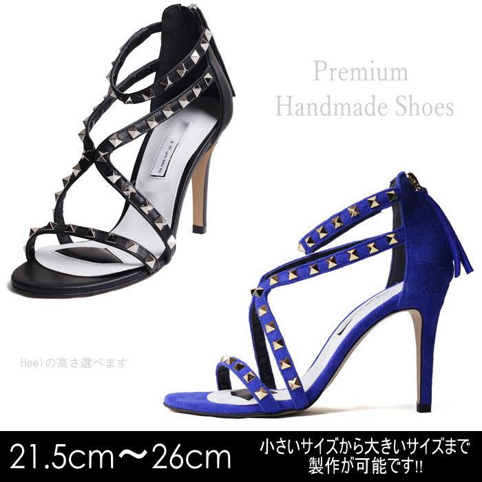 ★(一部離島は除く)★スタッズストラップレザーサンダル 本革サンダル ハンドメイドシューズ 靴通販
