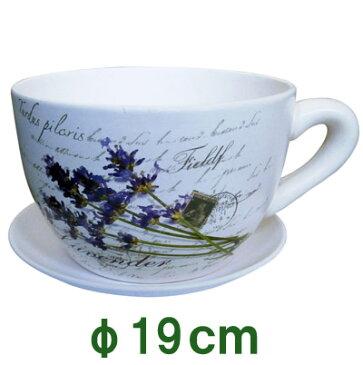 アンティーク カップ 植木鉢 可愛い コーヒーカップ ティーカップ 室内用 多肉植物 ハーブ 寄せ植え 小さい おしゃれ かわいい 陶器鉢 【 EラベンダーポットM(受皿付)】