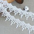 ケミカルレース 白 ボンボン 40mm幅 50cm単位 日本製 服飾資材 手芸 ボンボンが揺れる チャーミングなケミカルレース フリンジ【シープドリームズ】