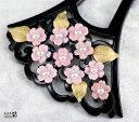桜花爛漫*極上コンク貝&本真珠*大振り透かし扇 かんざし【サクラ 和装 髪飾り バチ型 華やか】