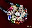 素敵なX'masリース*大粒天然本真珠 かんざし【和装 髪飾り クリスマス リース】