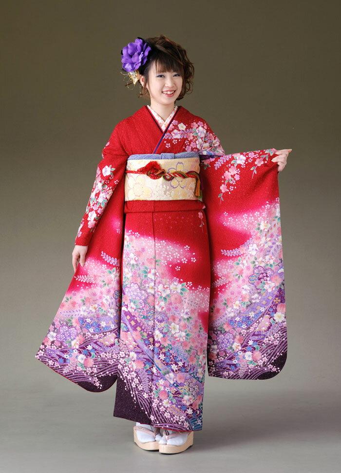 振袖 レンタル 着物 振袖 fs166 赤ラメ 紫ぼかし 花柄 Lサイズ 結婚式 成人式 貸衣裳 貸衣装 和服 往復送料無料 【レンタル】