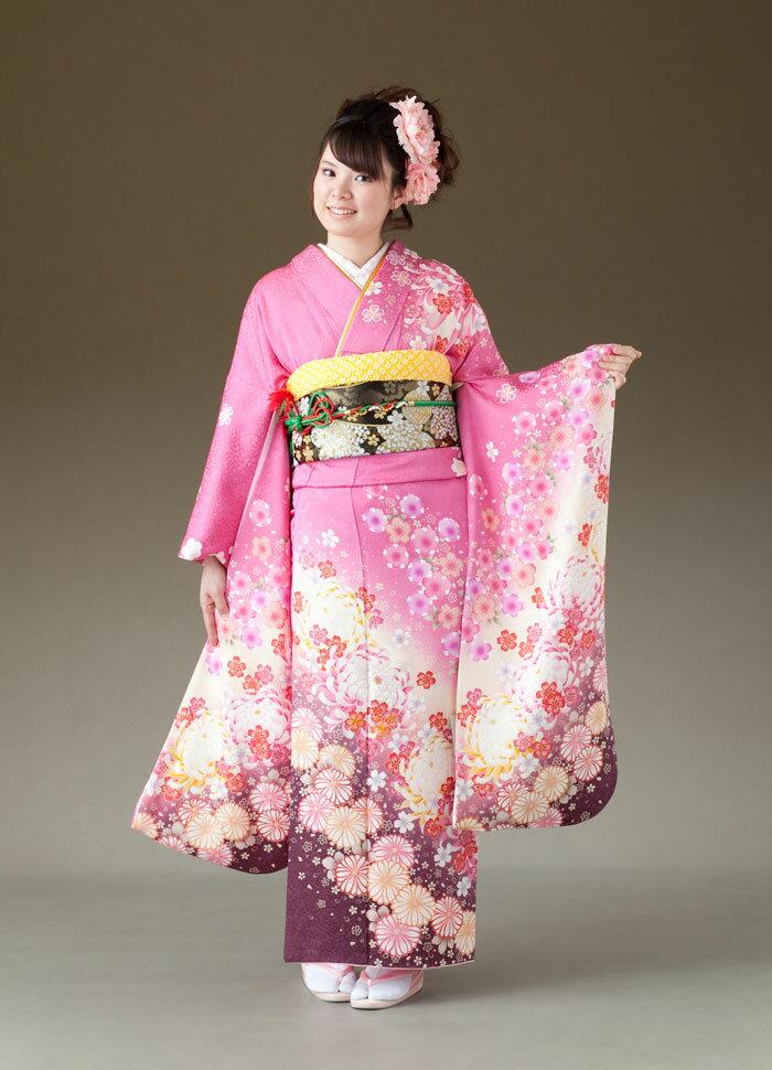 振袖 レンタル 着物 振袖 fs175 ピンク 桜 大きな菊 Lサイズ 結婚式 成人式 貸衣裳 貸衣装 和服 往復送料無料 【レンタル】