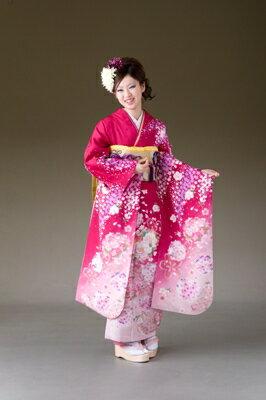 振袖 レンタル 着物 振袖 fs177 anan濃ピンク小花 Mサイズ 結婚式 成人式 貸衣裳 貸衣装 和服 往復送料無料 【レンタル】