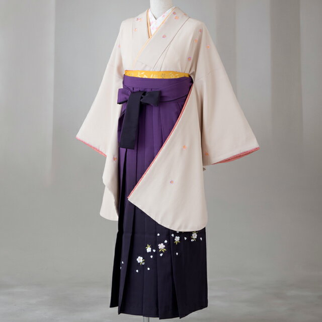 袴 レンタル 卒業式 全て揃った12点フルセット gr105 ベージュ袖にピンク はかま ハカマ 往復 送料無料【レンタル】