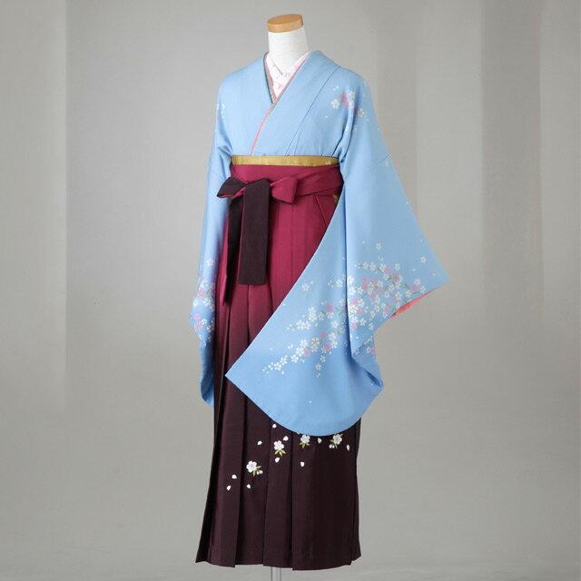 卒業式 袴 レンタル 12点セット 送料無料 gr106 水色 しだれ桜模様 Lサイズ