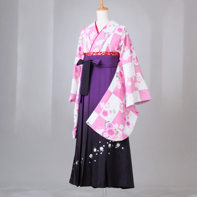 卒業式 袴 レンタル 12点セット 送料無料 gr127 白×ピンク市松模様に花々 Lサイズ