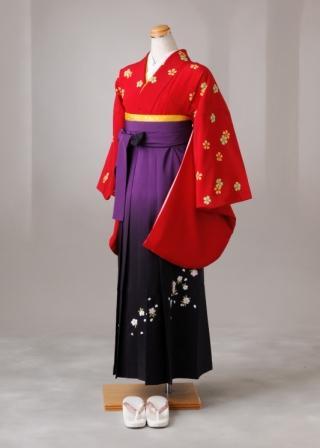 卒業式 袴 レンタル 12点セット 送料無料 gr023 鮮やかな赤地に桜 Mサイズ