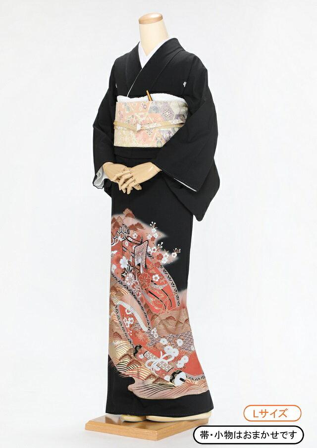 黒留袖 レンタル 着物 黒留袖 K26 御所車と巻物に波 Lサイズ 結婚式 貸衣裳 貸衣装 和服 往復送料無料 【レンタル】