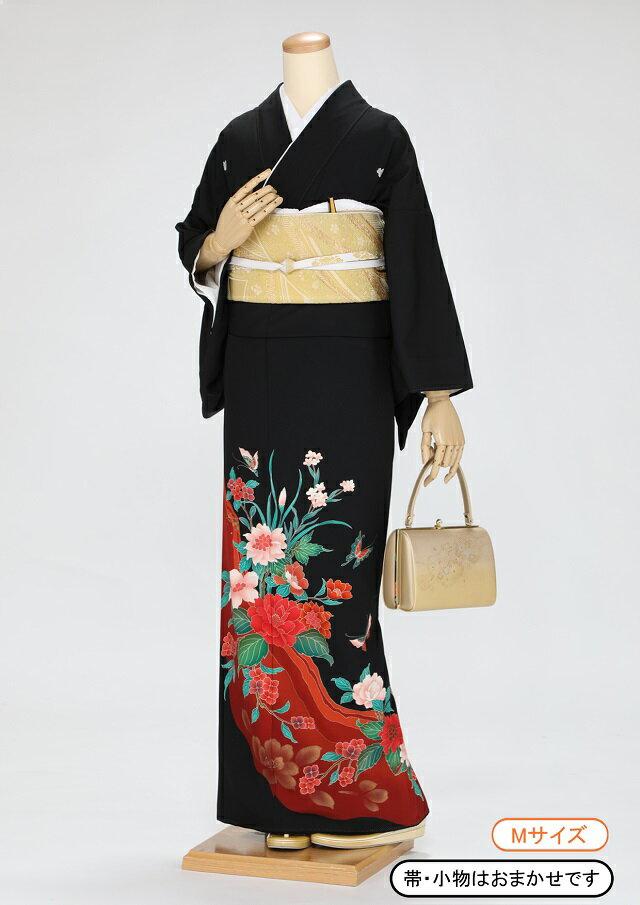 黒留袖 レンタル 着物 黒留袖 K41 茶系 赤とピンクの花 結婚式 貸衣裳 往復送料無料 【レンタル】