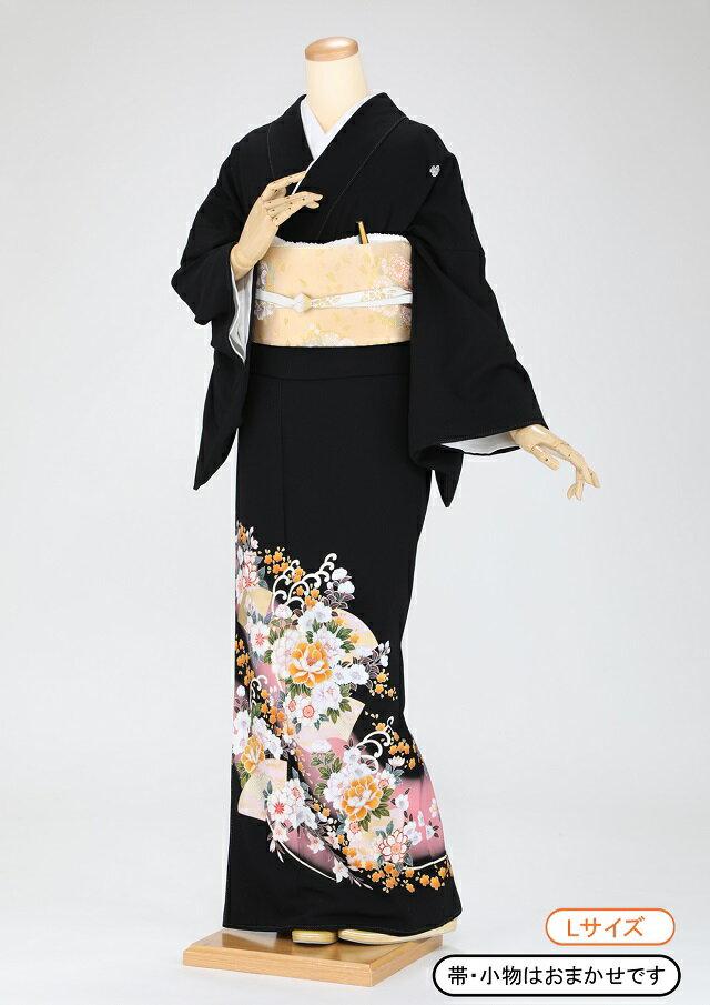 黒留袖 レンタル 着物 黒留袖 K55 牡丹と扇 ピンクぼかし Lサイズ 結婚式 貸衣裳 貸衣装 和服 往復送料無料 【レンタル】