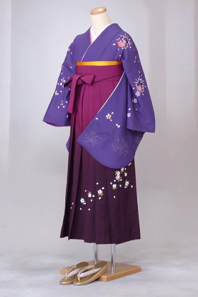 卒業式 袴 レンタル 12点セット 送料無料 gr021 紫式部色に桜ちらし Mサイズ