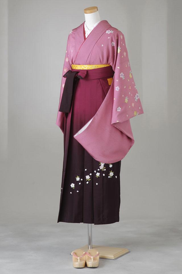 卒業式 袴 レンタル 12点セット 送料無料 gr35 ローズピンクに桜ちらし Lサイズ