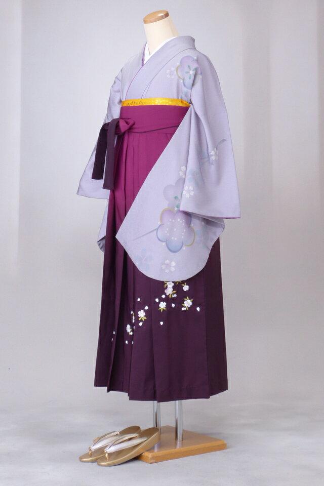 卒業式 袴 レンタル 12点セット 送料無料 gr39 薄グレー地に袖桜柄 Lサイズ