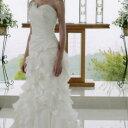 【全品ポイント5倍】ウェディングドレス レンタル「フリルマーメイド」【9号】【人魚のようなボディーラインでスタイルアップの大人ウェディングドレス!たっぷりのフリルのトレーンが完璧な花嫁を演出します】【レンタル】【感謝祭】