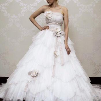 ウェディング ドレス レンタル(9〜13号)[pl005]「リボンベージュレース」【アンティークなデザインのおしゃれなウェディングドレスです。ベージュのリボンとシワ加工のたっぷりフリルかわいい花嫁に】【レンタル】【マンゾクポイントセール】【ポイント5倍】
