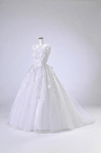 ウェディング ドレス レンタル(13号)[pl019]「フレンチ小花ちらし」【純白の生地にたくさんの小花をあしらったかわいらしい印象のドレスです♪】【レンタル】【感謝祭】【ポイント5倍】