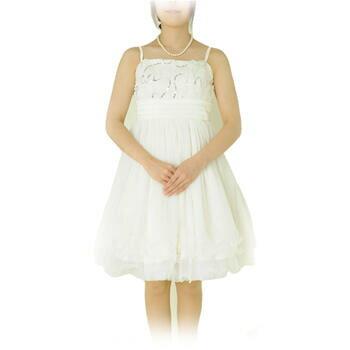 単品 レンタルドレス レディース(大人) 「ホワイト胸バラスパンコール」9号 g387t【送料無料】 【お宮参り】【ミセス】【親族】【レンタル】【ご愛顧感謝セール】【ポイント5倍】