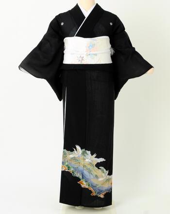 【絽/夏用】黒留袖レンタル【舞鶴 a196】ミセス 黒 M/L【レンタル】【マンゾクポイントセール】【ポイント5倍】