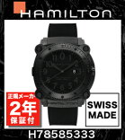ハミルトンビロウゼロ【2年間正規保証付き】HAMILTONカーキネイビーH78585333KHAKINAVYBeLOWZERO1000M防水AUTOメンズ腕時計ウォッチラバーベルト黒