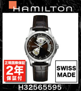HAMILTONハミルトンジャズマスターオープンハートオートH32565595【国際保証2年間付き】JazzmasterOpenHeartAuto文字盤ブラウンメンズ自動巻き腕時計ビジネス時計正規並行輸入品レザーベルトスイスメイド