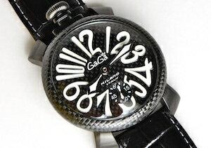 【即納/新品特価】ガガミラノ【5016.6】限定モデル世界500本(332/500)48mmMNUALEマヌアーレカーボンPVD人気のブラック/ホワイト文字腕時計GaGaMilanoメンズ時計