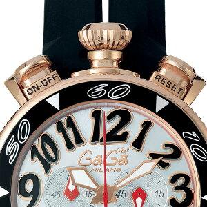 ベルトカラー変更可!!【即納/新品特価】ガガミラノ【6056.6】新型ベセルCHRONO48mmクロノ18K-PVDホワイト盤/ブラック文字GaGaMilanoブラックシリコンベルト!!メンズ/レディース兼用クオーツ腕時計100m防水