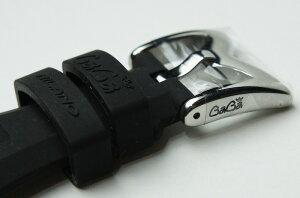 大特価【新品/正規純正品】ガガミラノ48mm用シリコンラバーベルトブラックBlack黒シルバー尾錠付きフェイス腕時計ベルト5010、5011シリーズクロノ6050.1、6050.26056.66050シリーズ5010.15010.65015シリーズなどGaGaMilano