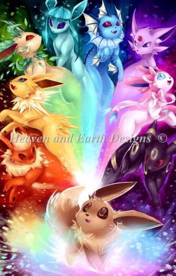 刺繍道具, 刺繍図案 Heaven And Earth Designs HAED Alyssa Gerwig Supersized The Possibilities Eeveelution Rainbow Max Color