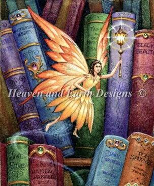 Heaven And Earth Designs クロスステッチ刺繍図案 HAED 輸入 上級者 Randal Spangler 図書館の妖精 Library Fairy IV 全面刺し