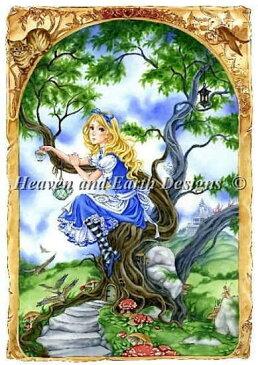 クロスステッチししゅう図案 不思議の国のアリス Heaven And Earth Designs 輸入 Meredith Dillman 上級者 Alice in Wonderland