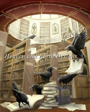 クロスステッチししゅうチャート 図書館のカラス Heaven And Earth Designs 輸入 Rob Carlos 上級者 Ravens In The Library
