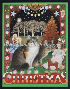 図案 クロスステッチ刺繍 Heaven And Earth Designs HAED 輸入 上級者 Lesley Ivory アメリカのクリスマスと猫 An American Christmas With Agneatha And Octopussy 全面刺し