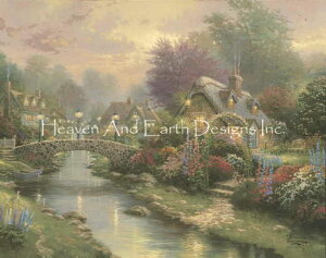 HAED クロスステッチ図案 Heaven And Earth Designs チャート 【Lamplight Bridge Max Colors】 Thomas Kinkade