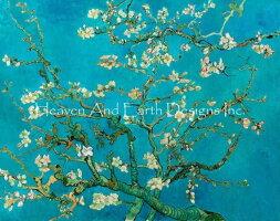 VincentVanGoughフィンセント・ファン・ゴッホ名画HAEDクロスステッチ刺繍チャートHeavenAndEarthDesigns図案【AlmondBlossomBlue-花咲くアーモンドの木の枝-】
