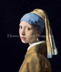 JohannesVermeer(ヨハネス・フェルメール)名画【真珠の耳飾りの少女-GirlWithPearlEarring-】HAEDクロスステッチ刺しゅう図案HeavenAndEarthDesigns輸入チャート美術絵画