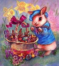 HeavenAndEarthDesigns(HAED)クロスステッチ刺繍図案輸入EasterBasket春イースターうさぎひよこ全面刺し上級者