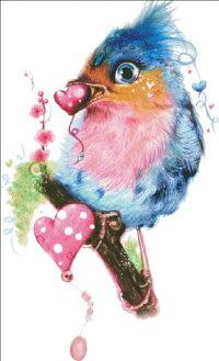 HeavenAndEarthDesigns(HAED)クロスステッチ刺繍図案輸入LoveBird鳥バード野鳥ハート風船上級者