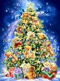 ししゅうクロスステッチ図案 HAED テディベアーのクリスマスツリー Heaven And Earth Designs 輸入 Dona Gelsinger 上級者 Mini Teddy Bear Tree 全面刺し