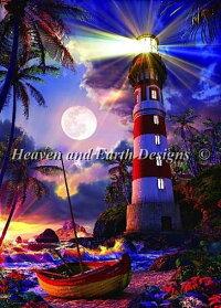 HeavenAndEarthDesigns(HAED)クロスステッチ刺繍図案輸入灯台の灯りRayofLight全面刺し上級者