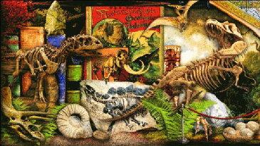 Heaven And Earth Designs 図案 HAED クロスステッチ刺繍 輸入 Aimee Stewart 博物館の恐竜 QS Museum Shelf Dinosaurs 全面刺し 上級者