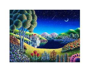 クロスステッチ刺繍 図案 HAED Heaven And Earth Designs 輸入 Andy Russell 青い月 Blue Moon 全面刺し 上級者