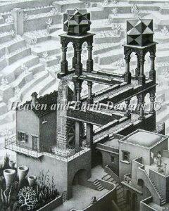 エッシャー 滝 クロスステッチ刺繍 図案 Heaven And Earth Designs 輸入 HAED 上級者 Waterfall Escher マウリッツ・コルネリス Maurits Cornelis Escher