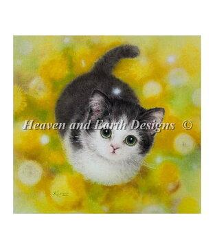 クロスステッチ刺繍 図案 Heaven And Earth Designs HAED 輸入 上級者 Kayomi Harai たんぽぽと子猫 Dandelion KH