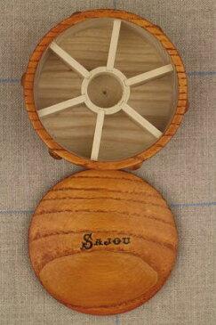 Sajou ボビンケース Boîte ronde en bois pour bobines miniatures 木製 保管 収納 ケース フランス メゾンサジュー BOIS_BTE_RDE_PM