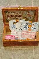 "Sajou木製ボックスBoîtederangementenboissérigraphiée""Rubans""保管収納ケースフランスメゾンサジューBOIS_BTE_SERI_RU"