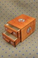 Sajou木製ボックス(引き出し2段)MeubledemercerieSajouDeuxtiroirs-étiquettesDécouvit保管収納ケースフランスメゾンサジューMEUB_MERC_2T_FAC_04
