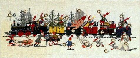 フレメクロスステッチ輸入刺しゅうキットJuletogクリスマスの列車に乗ってHaandarbejdetsFremmeデンマーク刺繍北欧10BVH上級者34-6103